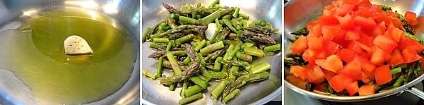 preparazione degli strangozzi con asparagi e pomodoro fresco