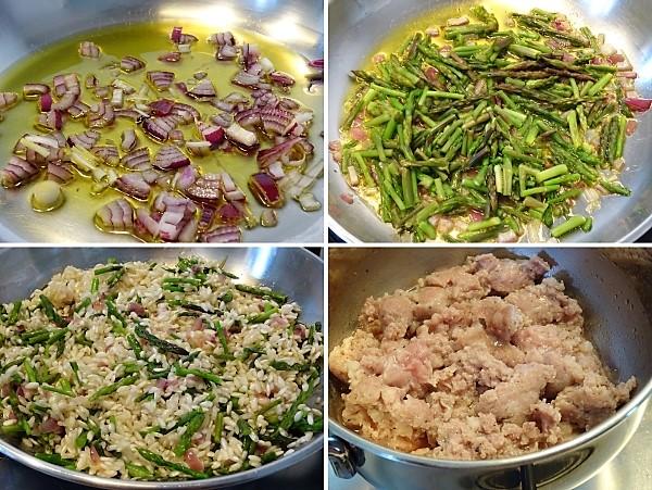 preparazione del risotto con asparagi selvatici e salsiccia
