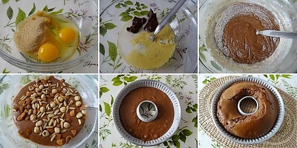preparazione della ciambella con impasto alla nutella ricetta veloce