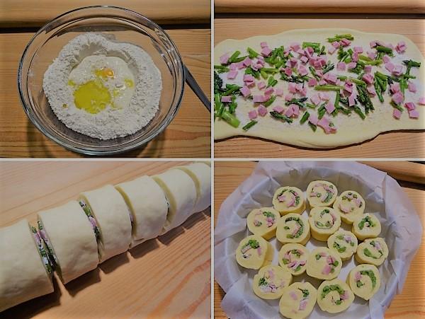 preparazione della torta di rose salta asparagi e prosciutto cotto