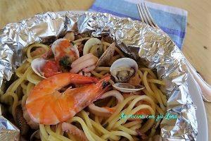 Spaghetti al cartoccio con pesce