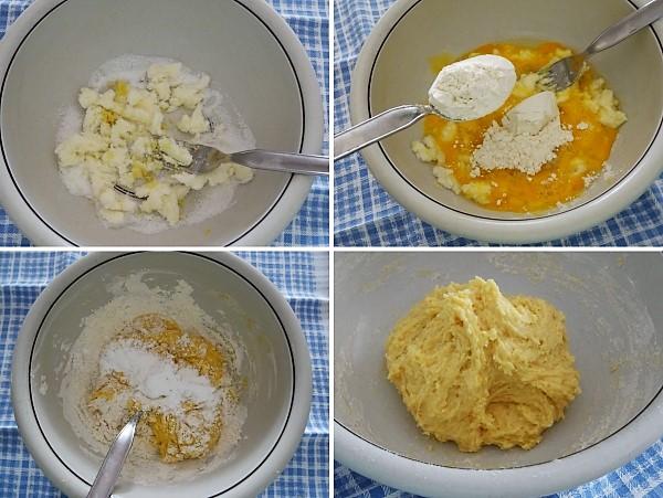 preparazione della crostata coperta con marmellata di pere