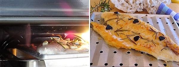 cottura dei filetti di persico al grill del forno