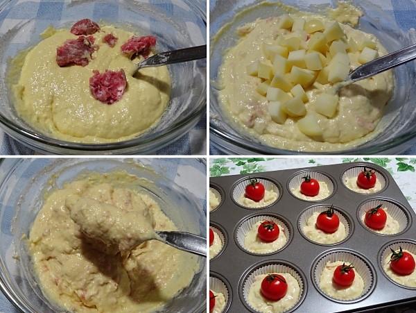 preparazione dei muffin salati con pomodorini