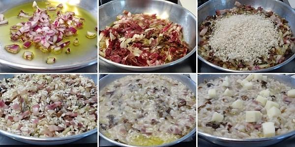 preparazione del risotto con radicchi pancetta e scamorza