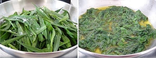 preparazione della frittata morbida con strigoli e salsiccia 1