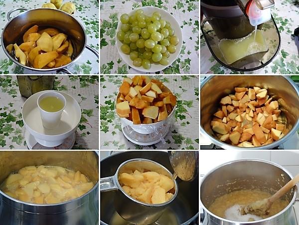 preparazione della marmellata di mele cotogne e uva