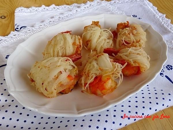involtini di spaghetti di riso con mazzancolle