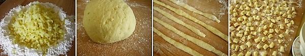 preparazione degli gnocchi con broccoli e pancetta dolce 2