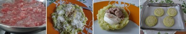 preparazione delle polpette di patate cavolo salsiccia e mozzarella