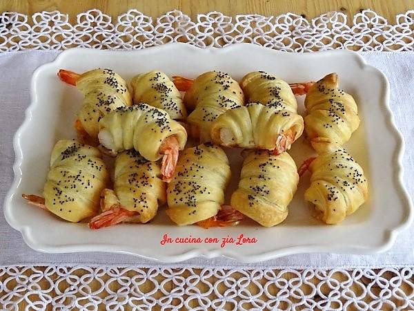 gamberetti in crosta di pasta sfoglia
