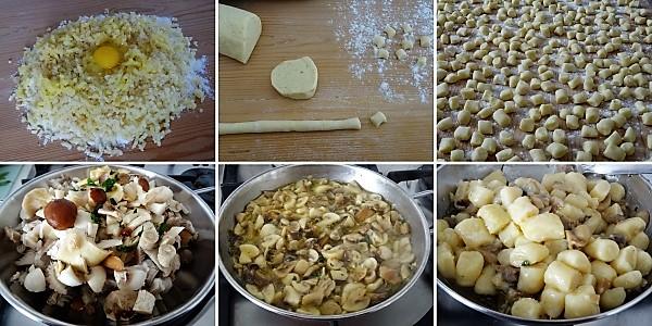 preparazione degli gnocchi ai funghi misti con porcini e gorgonzola