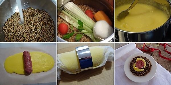 preparazione delle lenticchie con polenta e cotechino