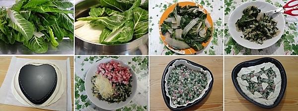 preparazione della torta alle verdure a forma di cuore