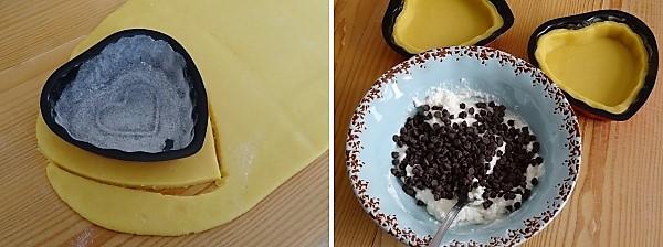 preparazione delle tortine San Valentino ricotta e cioccolato