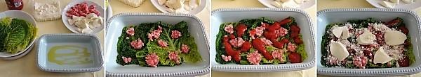 preparazione delle lasagne di verza con salsiccia e mozzrella