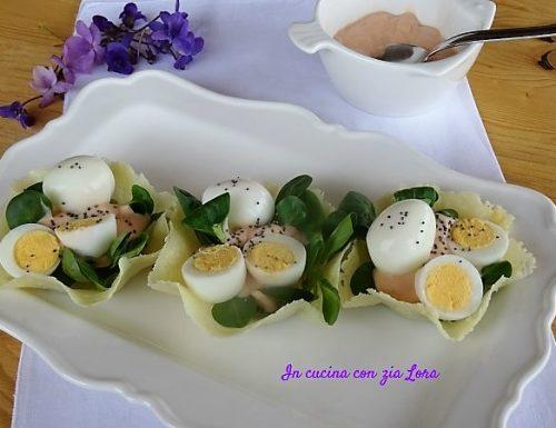 Cestini con uova di quaglia antipasto pasquale