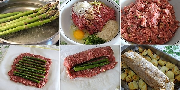 preparazione del polpettone con asparagi e patate al forno