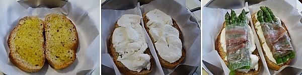 preparazione dei crostoni mozzarella asparagi e guanciale