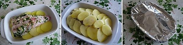 preparazione della coda di rospo in crosta di patate
