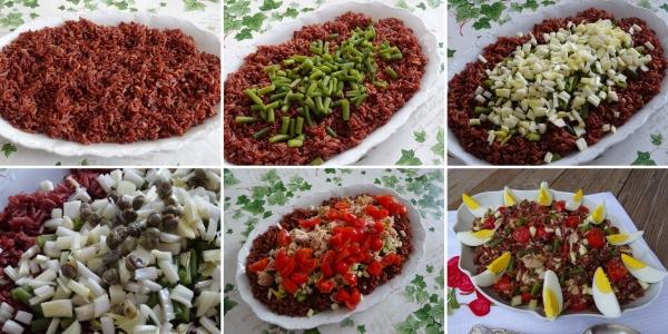preparazione della insalata di riso rosso alla nizzarda