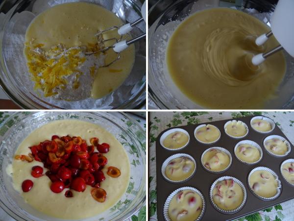 Preparazione dei muffin con ciliege ricetta semplice