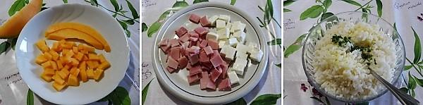 Preparazione dell'insalata di riso prosciutto e melone