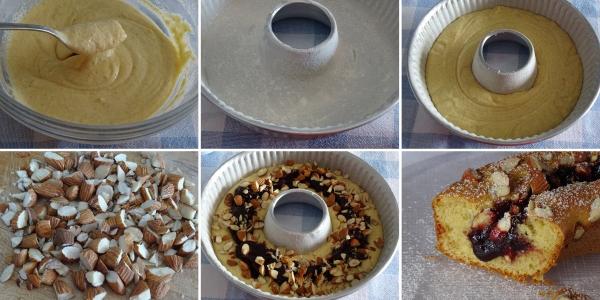 Preparazione della ciambella con marmellata e mandorle