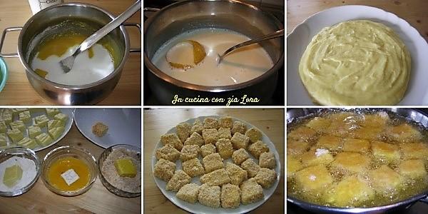 Preparazione degli gnocchetti di crema fritta ricetta marchigiana