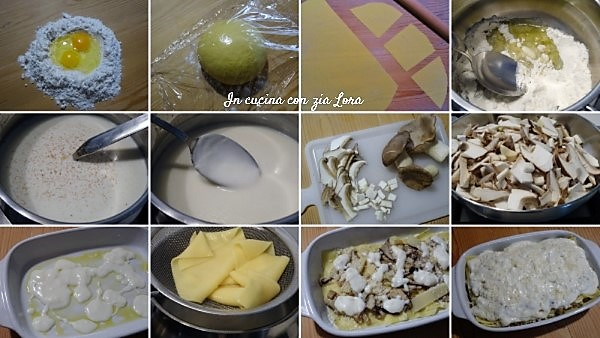 Preparazione delle lasagne con funghi cardoncello