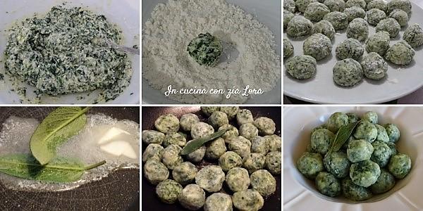 Preparazione degli gnocchi di ricotta e spinaci