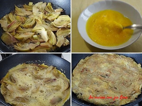 Preparazione della frittata con carciofi e parmigiano