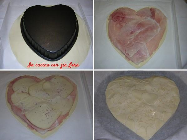 Preparazione della torta salata facile per San Valentino