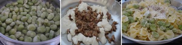 Preparazione della pasta con salsiccia fave e panna