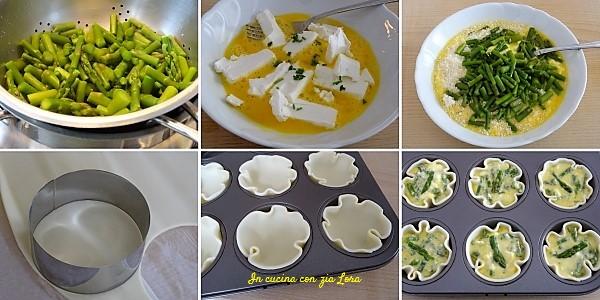 Preparazione delle tortine agli asparagi ricetta veloce