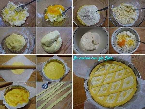 Preparazione della crostata light con ricotta e riso