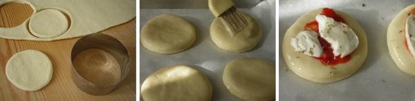 Preparazione delle pizzette con pomodoro e mozzarella