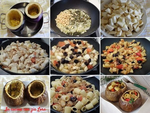 Preparazione delle melanzane tonde ripiene di pasta saporita