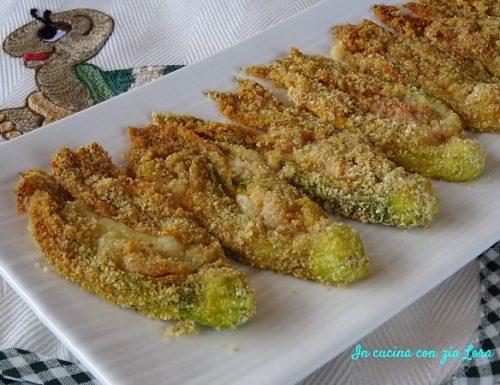 Fiori di zucca ripieni impanati al forno