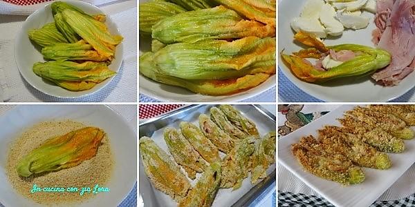 Preparazione dei fiori di zucca ripieni impanati al forno