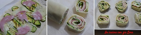 Preparazione delle girelle di pasta sfoglia con zucchine