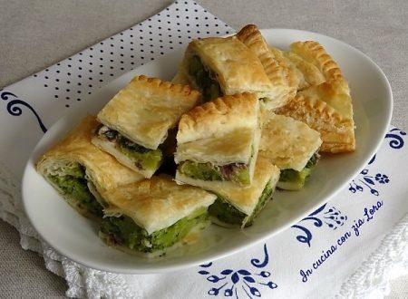 Pasta sfoglia ripiena di broccoli e acciughe