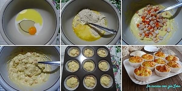 Preparazione dei muffin salati con surimi e gamberetti