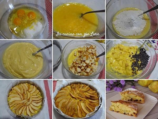 Preparazione della torta di pere cotogne con gocce di cioccolato