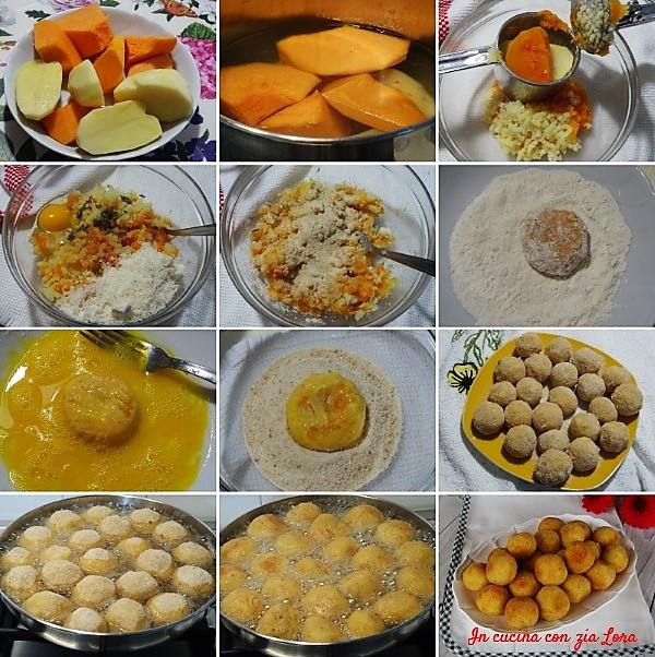 Preparazione delle polpette di zucca e patate alla salvia