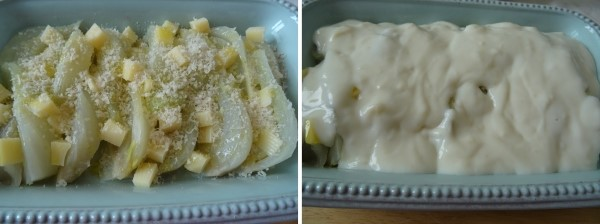 Preparazione dei finocchi gratinati con groviera e besciamella