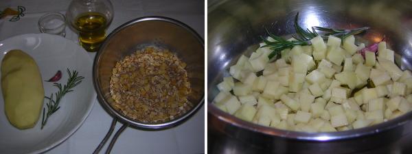 Preparazione della zuppa di farro e cicerchie