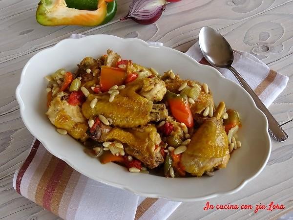 Pollo in padella con peperoni