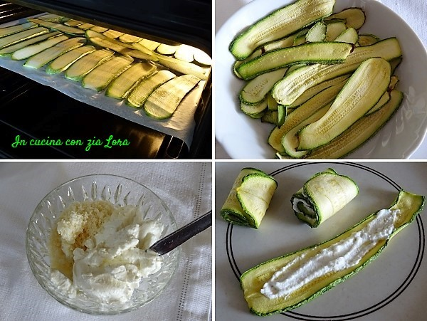 Preparazione dei rotolini di zucchine con crema di ricotta e pesto