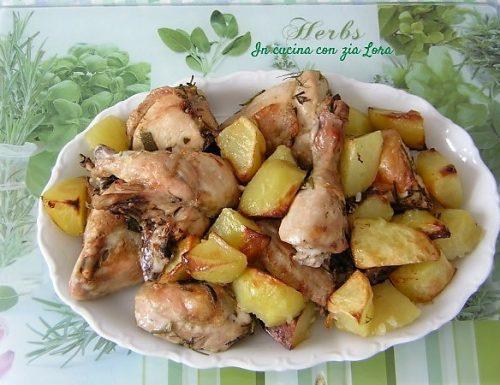 Pollo spezzato al forno con patate